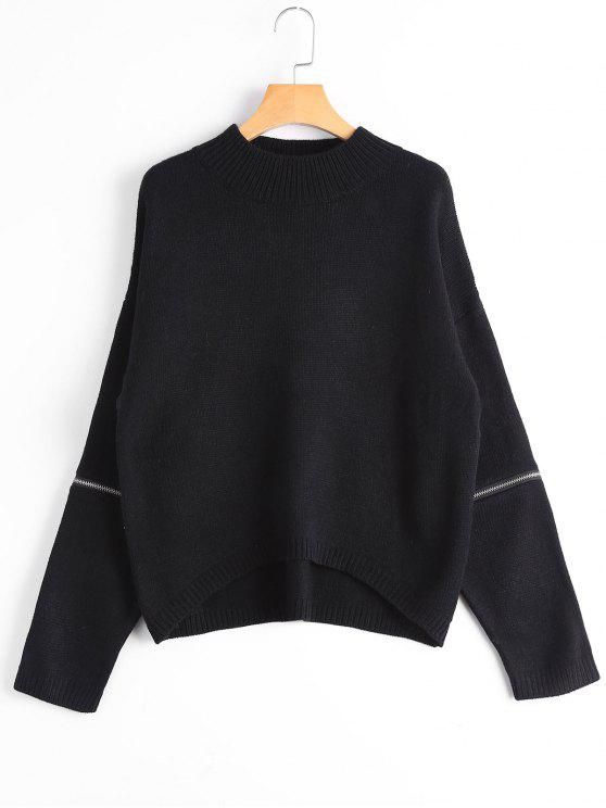 new Zippered Mock Neck Sweater - BLACK ONE SIZE