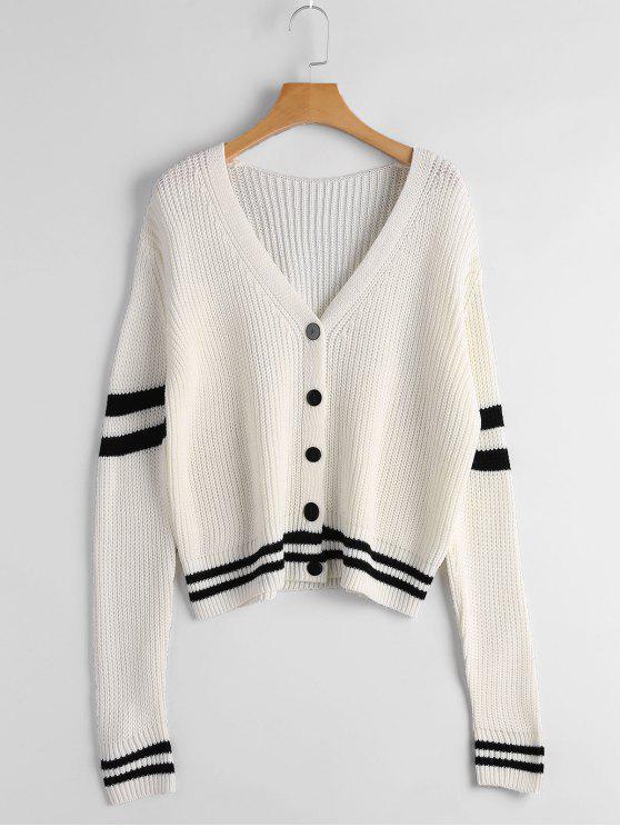 Cardigan Épais à Rayures - Blanc Cassé Taille Unique