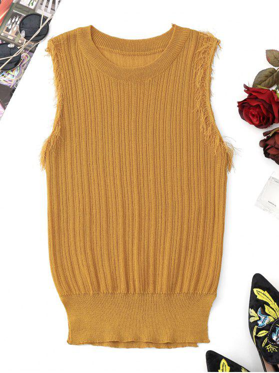Fringes Hem Knitting Tank Top - Amarelo Gengibre Tamanho único