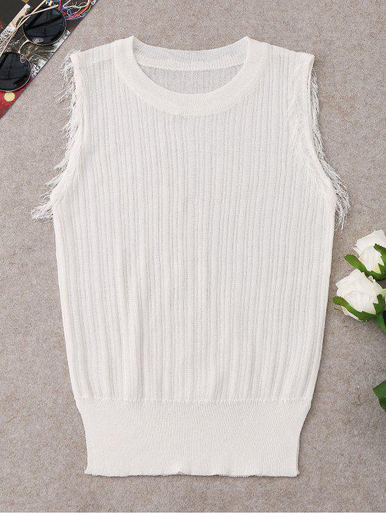 Fringes Hem Camiseta sin mangas - Blanco Única Talla