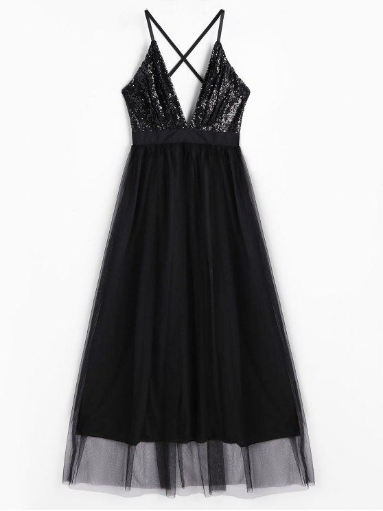 Sequins Plunge Neck Tulle Maxi Prom Dress - Preto L