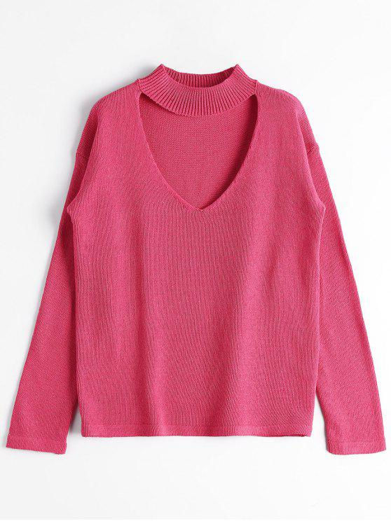 shops Loose High Neck Choker Sweater - ROSE RED ONE SIZE