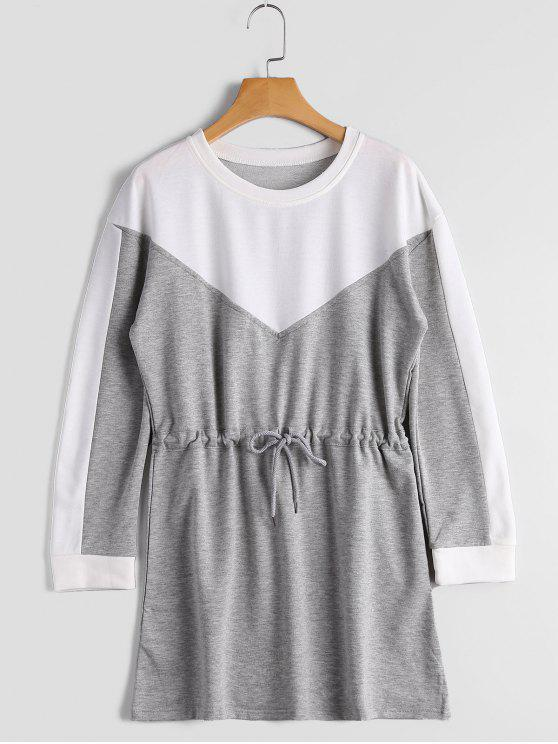 latest Drawstring Long Sleeve Color Block Dress - GRAY XL