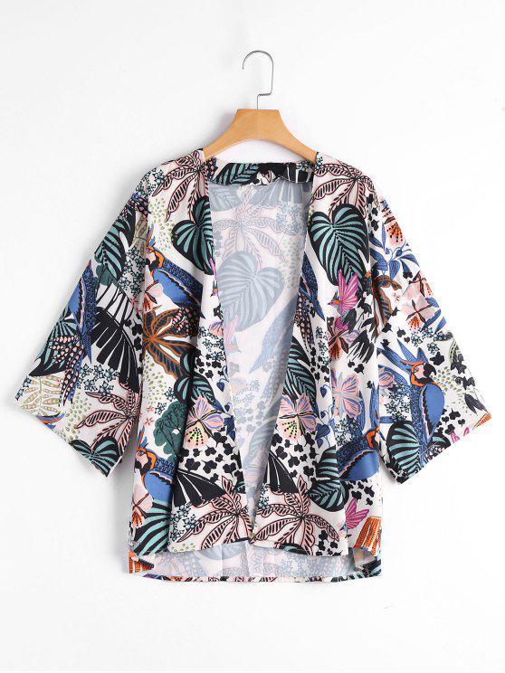 Top de Kimono imprimé à feuilles tropicales - Floral S