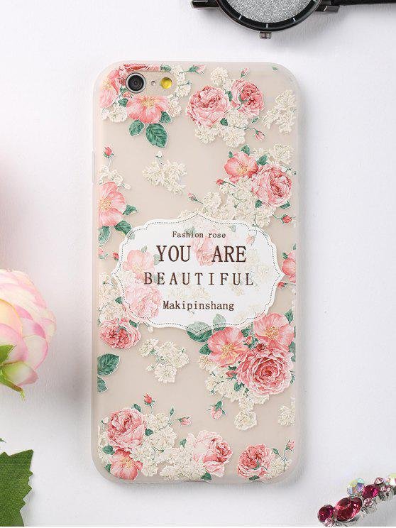 affordable Letters Rose Pattern Phone Case For Iphone - PINK FOR IPHONE 6 / 6S