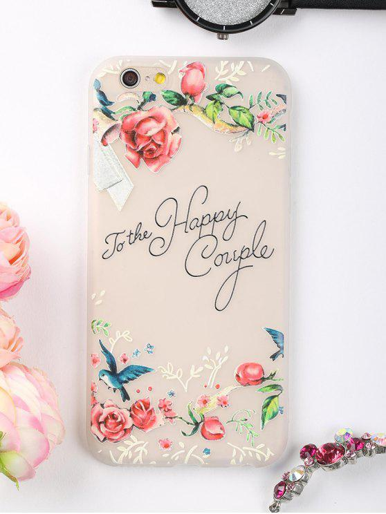 chic Letters Flowers Pattern Phone Case For Iphone - PINK FOR IPHONE 6 / 6S