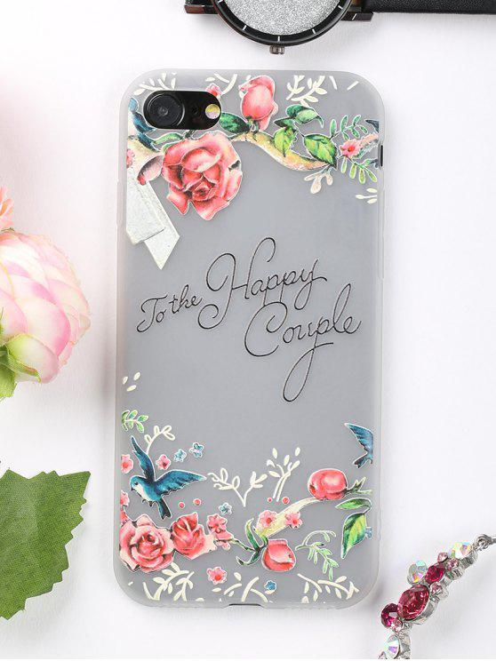 Letters Flowers Pattern Phone Case para Iphone - Rosa PARA IPHONE 7