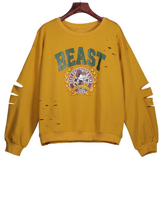 best Ripped Sweatshirt with Cartoon Print - MUSTARD ONE SIZE