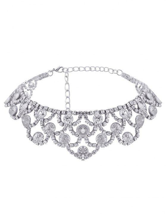 ladies Alloy Sparkly Rhinestone Necklace - SILVER