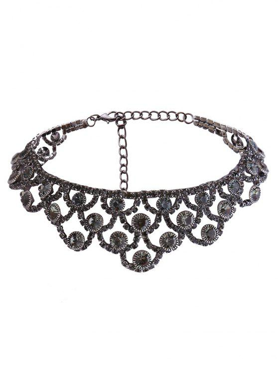Alloy Sparkly Rhinestone Necklace - Metal de Injetor