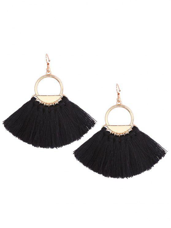 outfits Vintage Tassel Circle Fish Hook Earrings - BLACK