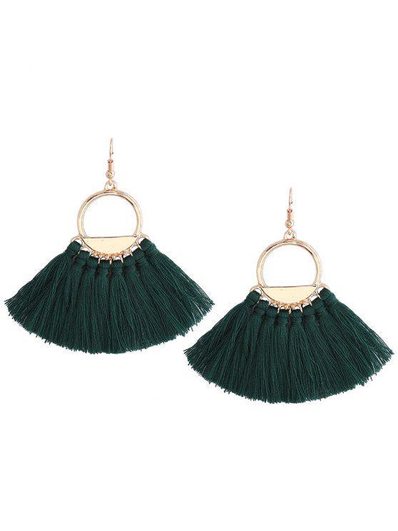 latest Vintage Tassel Circle Fish Hook Earrings - GREEN