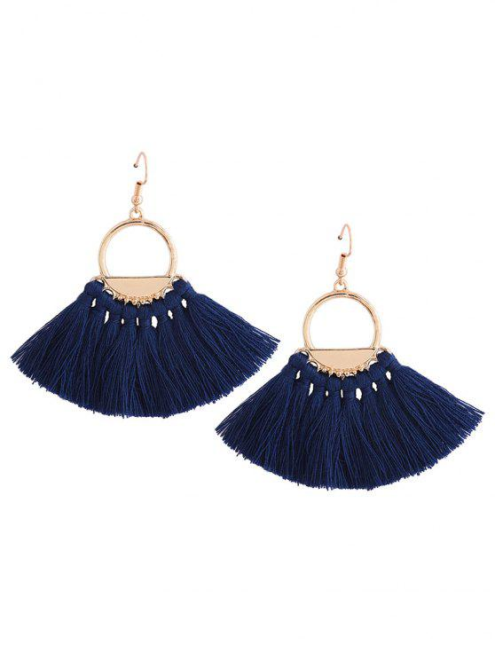 trendy Vintage Tassel Circle Fish Hook Earrings - BLUE