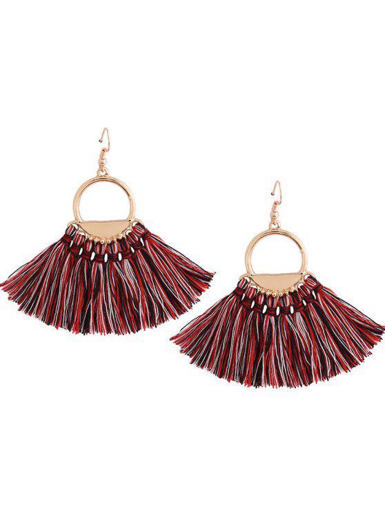 fashion Vintage Tassel Circle Fish Hook Earrings - COLORMIX