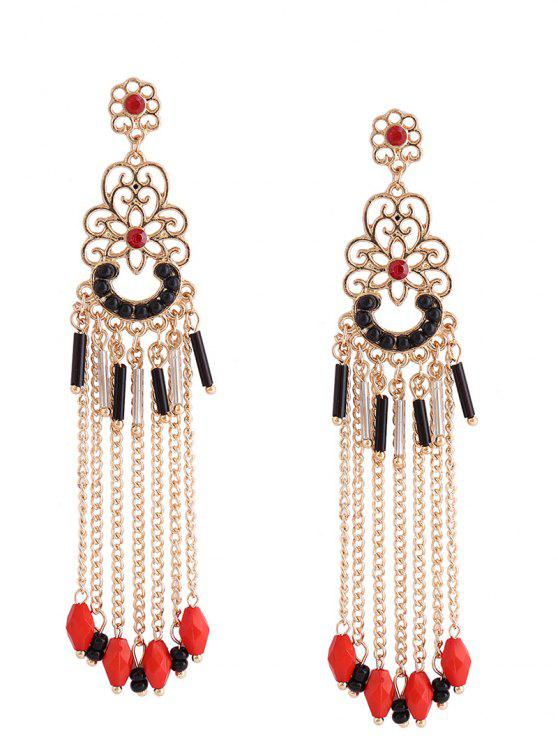 chic Bohemian Floral Beaded Tassel Fringed Earrings - RED