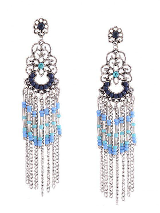 Boucles d'oreilles à la perle frisée à la perle florale de Bohème - Bleu