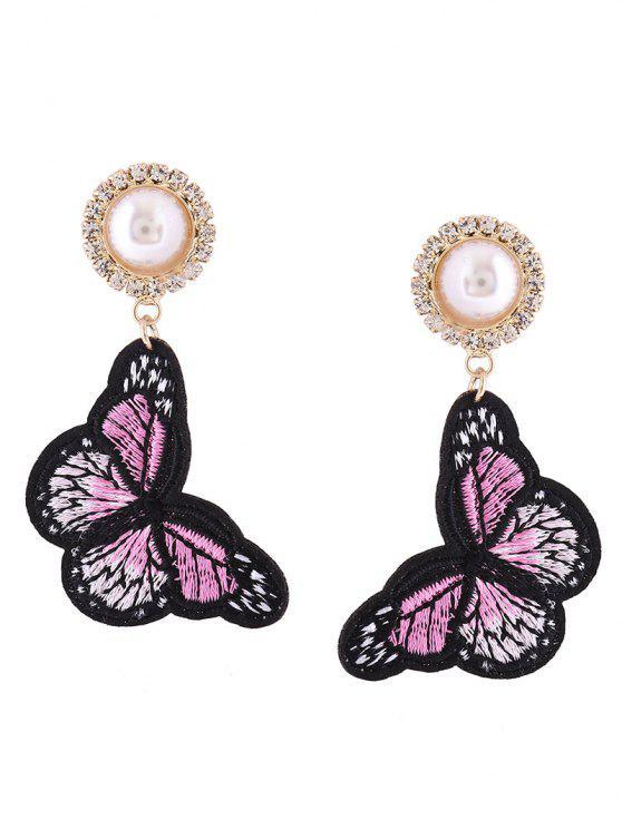 Rhinestone Faux Pearl Butterfly bordado pendientes - Rosa