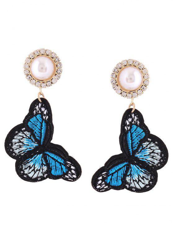 Rhinestone Faux Pearl Butterfly bordado pendientes - Azul