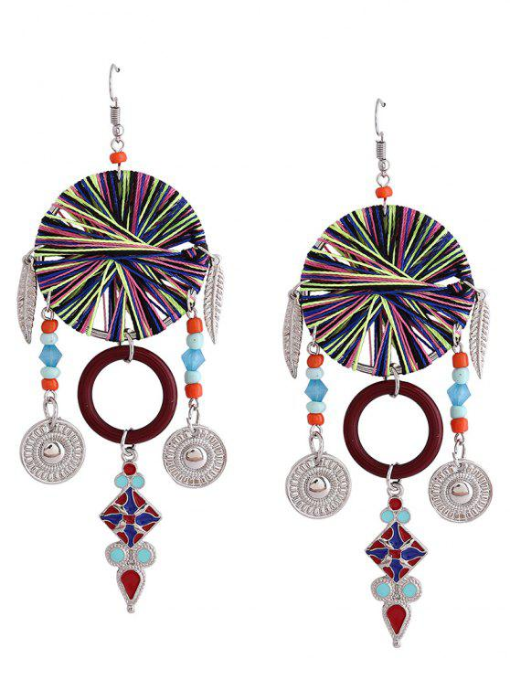womens Bohemian Leaf Circle Chandelier Earrings - RED