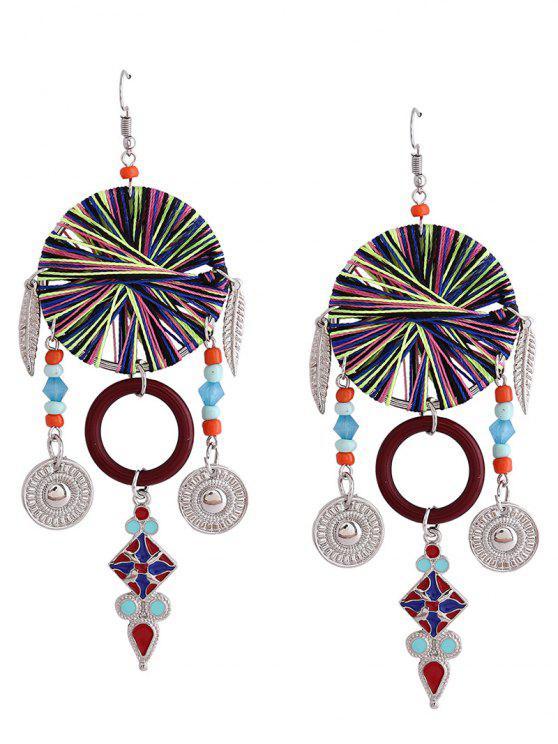 Bohemian Leaf Circle Chandelier Earrings - Vermelho