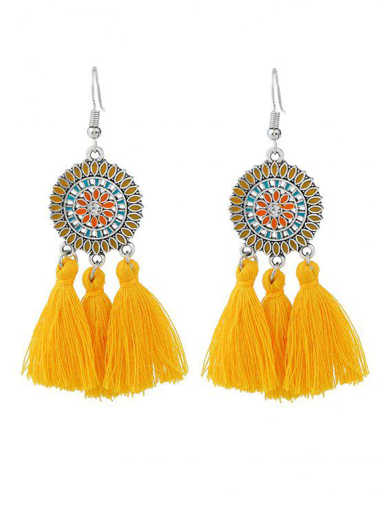 ladies Bohemian Floral Round Tassel Hook Earrings - YELLOW