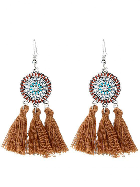 new Bohemian Floral Round Tassel Hook Earrings - BROWN