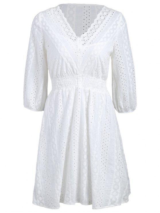 صدفي شير فستان عارضة مع اللباس كامي - أبيض M