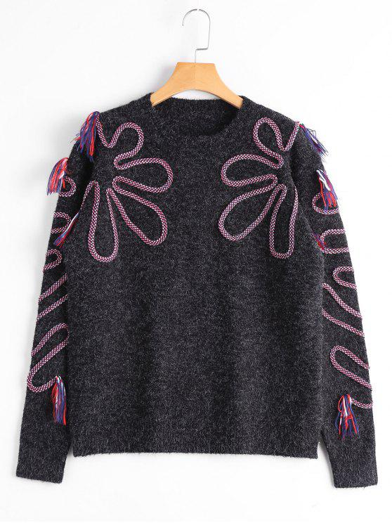 sale Tassel Braided Crew Neck Sweater - BLACK ONE SIZE