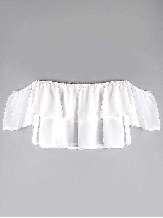 f40f1d98918ad 27% OFF  2019 Off The Shoulder Chiffon Crop Top In WHITE