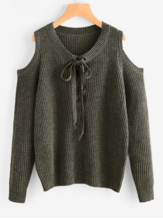 Lace Up Cold Shoulder Chunky Sweater - Verde Tamanho único