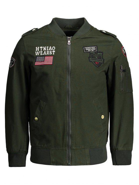 women Enbroidered Applique Bomber Jacket - ARMY GREEN 3XL