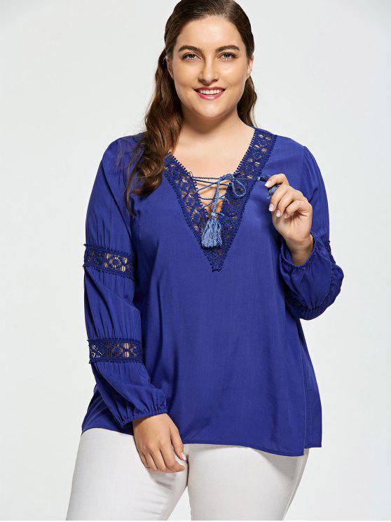 outfits Crochet Insert Plus Size Lattice Blouse - DEEP BLUE XL