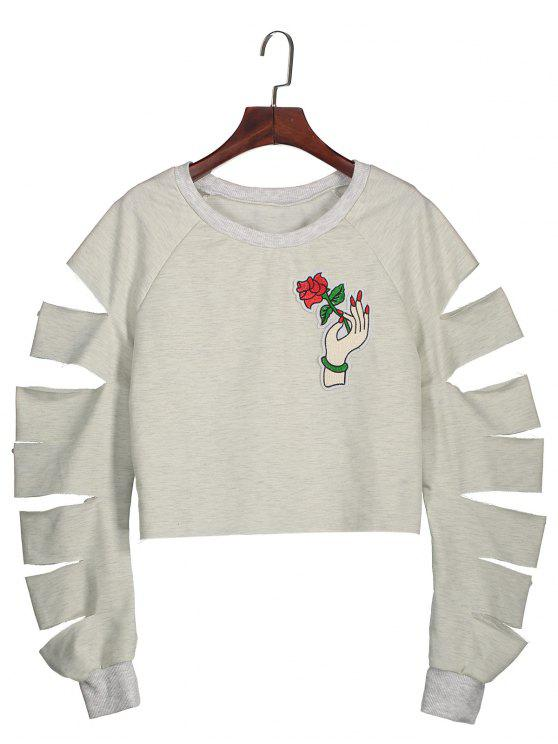 Ripped Appliqued Cropped Sweatshirt - Cinza Claro L