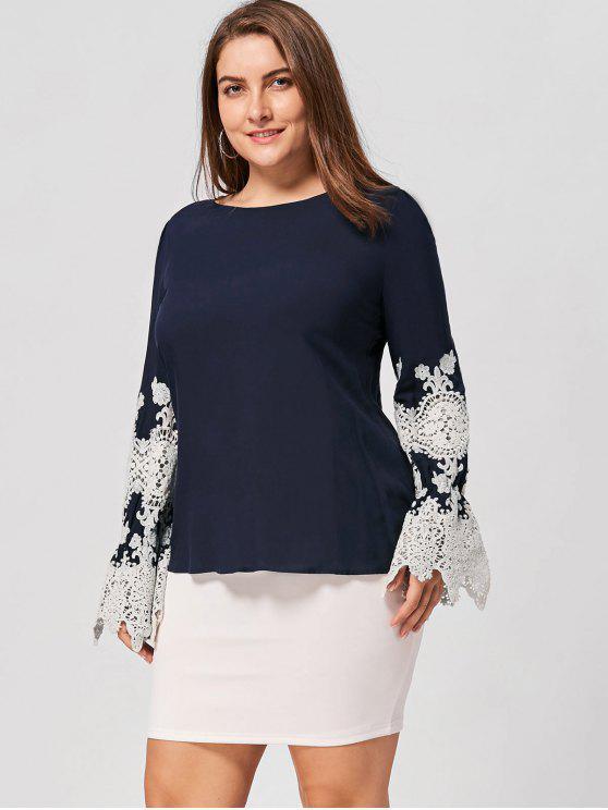 Plus Size Lace Trim High Low Bluse - Schwarz Blau 4XL