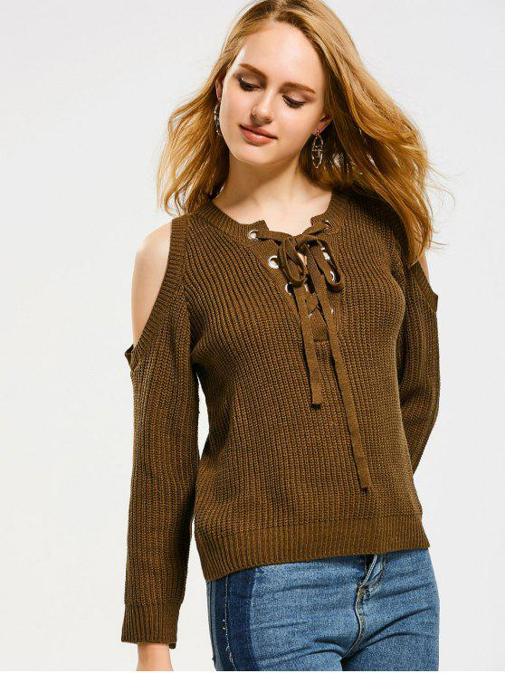 8c962d6a8e 2019 Lace Up Cold Shoulder Sweater In COFFEE ONE SIZE