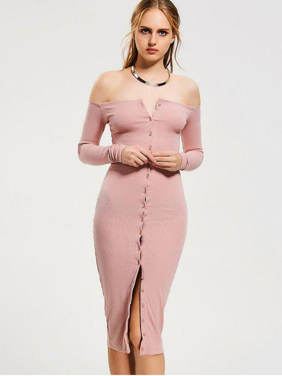 962cff7e191d 37% OFF  2019 Button Up Off Shoulder Bodycon Dress In PINK