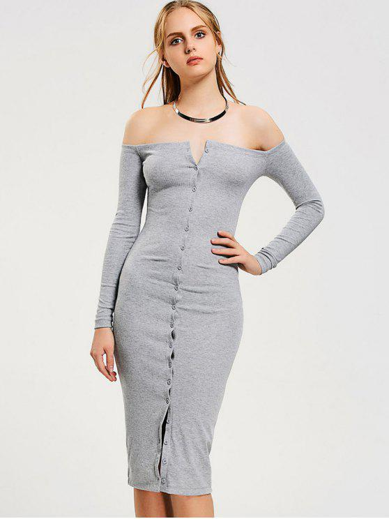 best Button Up Off Shoulder Bodycon Dress - GRAY S