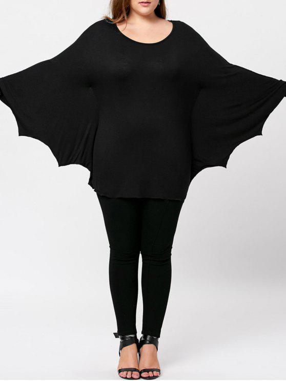 trendy Plus Size Halloween Batwing T-shirt - BLACK 2XL