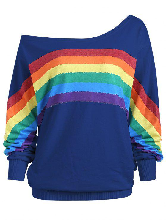 Rainbow Print Plus Size One Shoulder Top - Azul Escuro 5XL