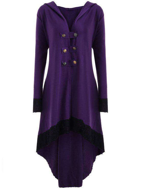 latest Lace-up Plus Size Hooded High Low Coat - PURPLE XL