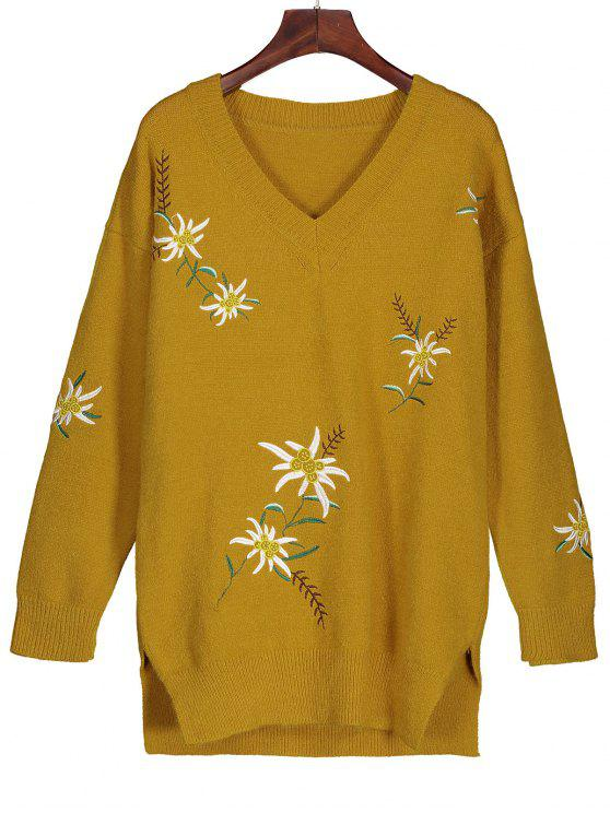 Embroidered Tunic Jumper Sweater DEEP YELLOW: Sweaters M | ZAFUL