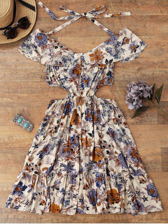 Ruffles Halter Cut Out Robe de plage florale - Floral XL