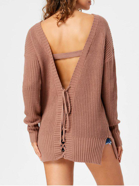 chic Open Back Lace Up Tunic Sweater - LIGHT COFFEE M