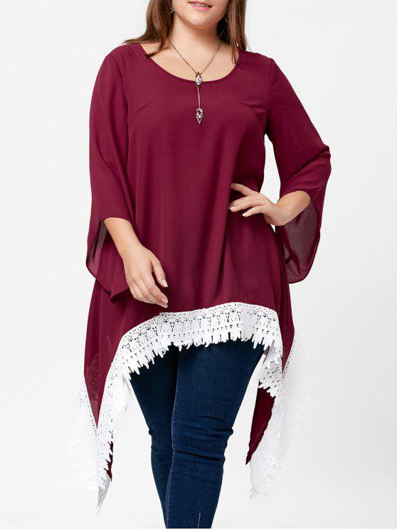Blusa assimétrica de manga comprida de tamanho grande em laço - Vinho vermelho 2XL