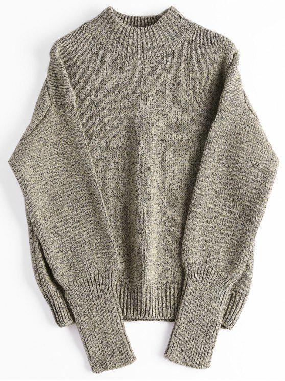 Loose Heathered Mock Neck Sweater - Greyish Brown