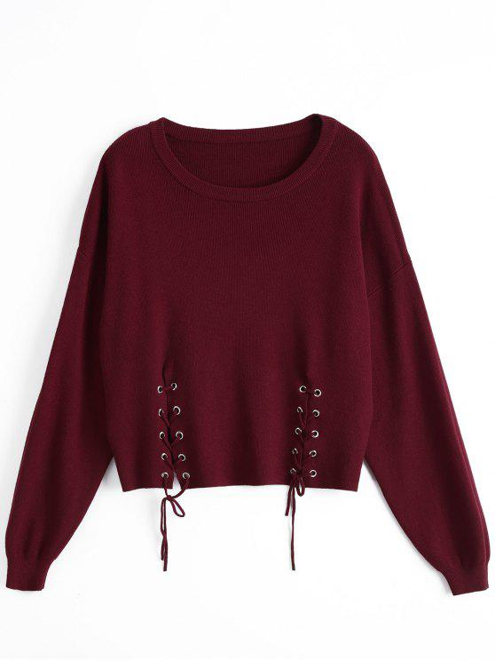 hot Loose Drop Shoulder Lace Up Sweater - WINE RED ONE SIZE