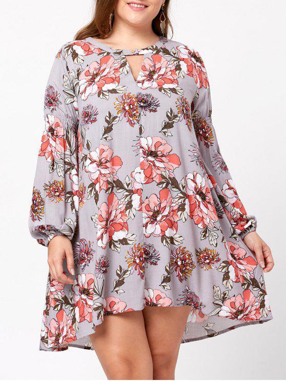 Plus Size Floral Lantern Sleeve Trapeze Dress COLORMIX