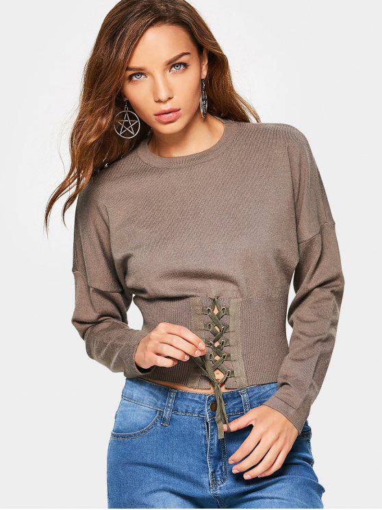 Crop Gestrickter Schnür-Pullover - Rasen Eine Größe