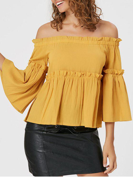 outfit Ruffles Off The Shoulder Blouse - YELLOW S