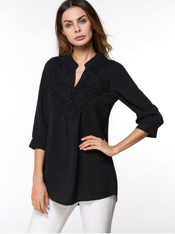 2166eed874babf 34% OFF  2019 Button Lace Embellished Chiffon Blouse In BLACK